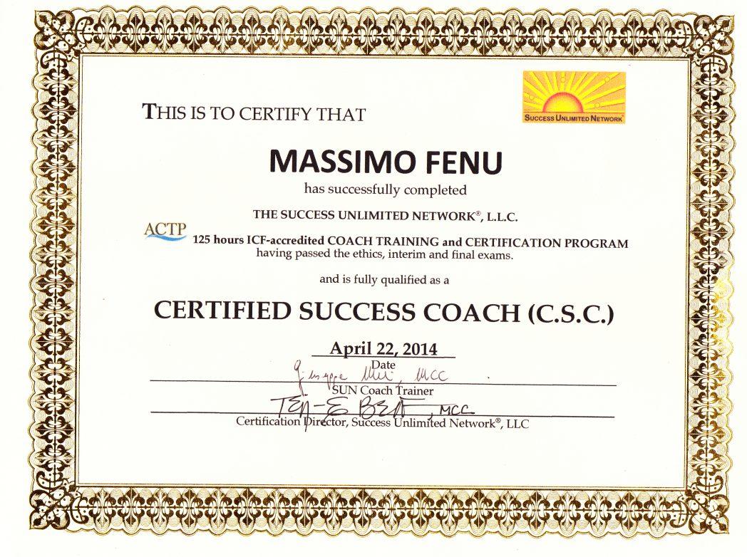Diploma Coach SUN di massimo fenu