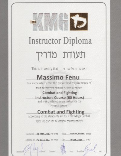 diploma istruttore combat and fighting