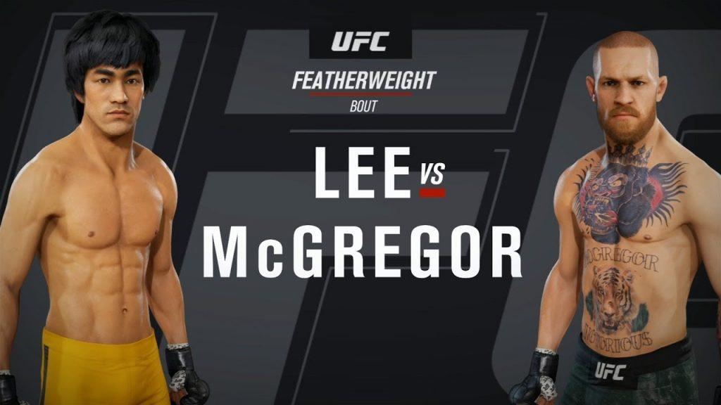 Immagine di un videogioco in cui Bruce Lee sfida McGregor