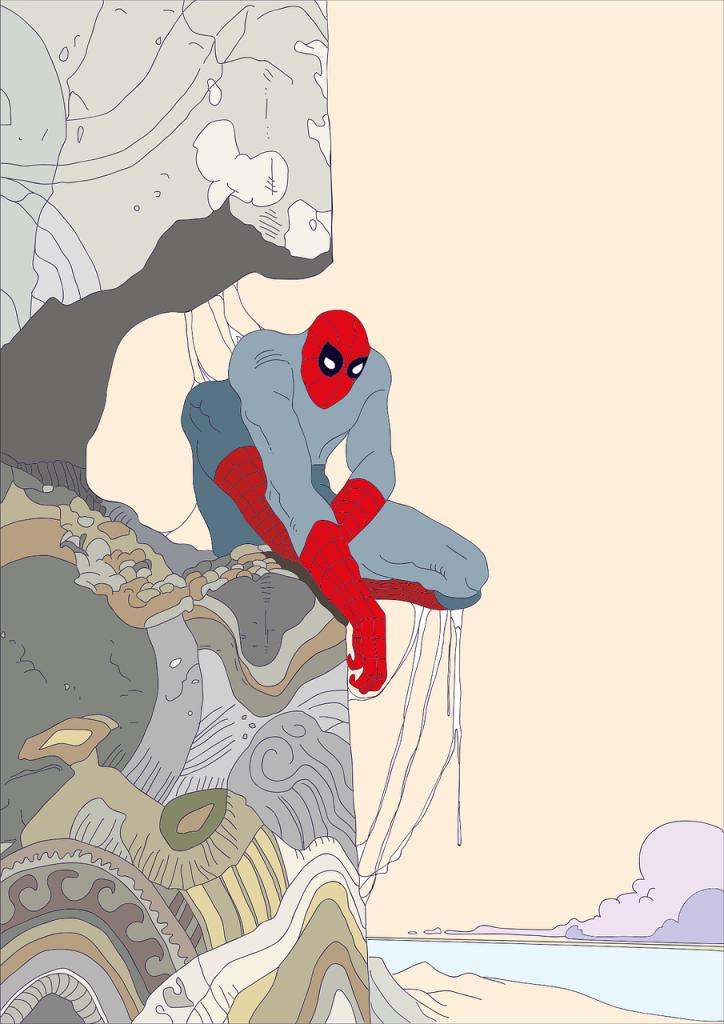 L'uomo ragno riposa su una altura